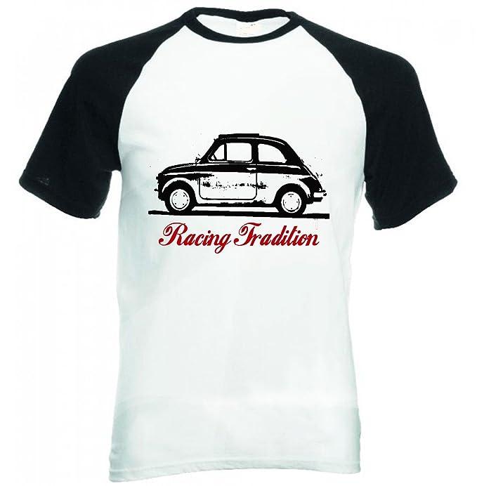 TEESANDENGINES FIAT 500 1958 RACING TRADITION 1P CAMISETA DE MANGAS NEGRA CORTAS T-shirt: Amazon.es: Ropa y accesorios