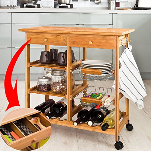 Haotian FKW06-N, Kitchen Storage Cart with Shelves & Drawers,Hostess Trolley,Kitchen Island,72x 37 x 77.5cm,Bamboo (Kitchen Island Bamboo)