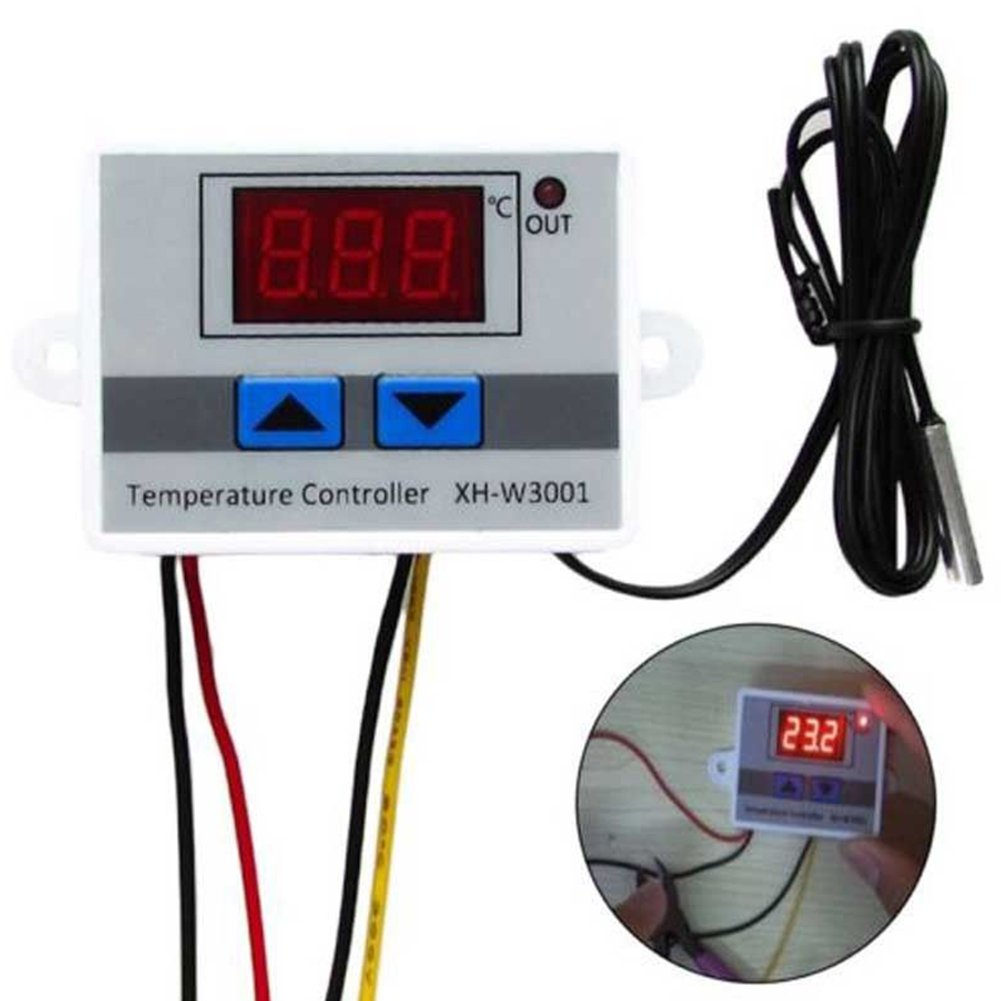 HMOCNV Digital LED Pre-wire Cool and Hot Temperature Controller Thermostat Control Switch Probe with Sensor 220V/24V/12V (12V)