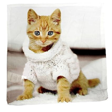 Gato con Jersey reversible decorativo funda para cojín funda de almohada de decoración para el hogar