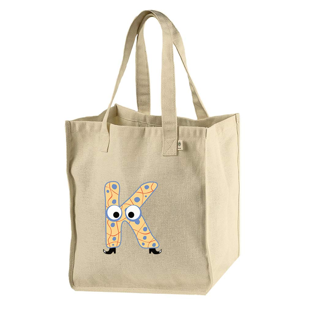 K With Boots Letter Alphabet Hemp/Cotton Canvas Market Bag Tote
