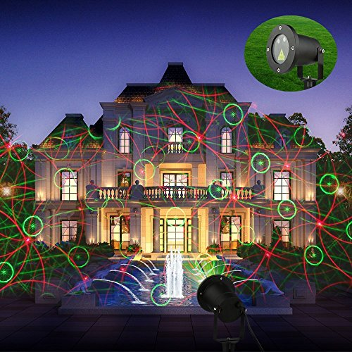 Garden Laser Lights, Hosyo 8 Patterns Starry Laser Christmas Lights Laser Projector Lights for Christmas Garden Yard Tree Decoration Outdoor/Indoor Party with Remote Control Timer