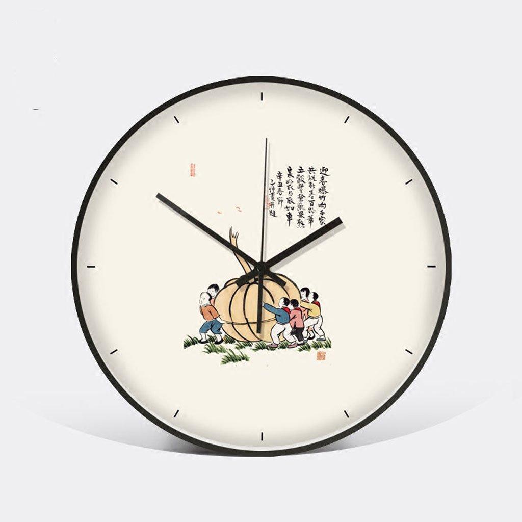 中国スタイルの壁時計新しい中国スタイルのリビングルームの寝室の人格のポケットの腕時計静かな白 (Color : Harvest) B07D5R1PL3 Harvest Harvest