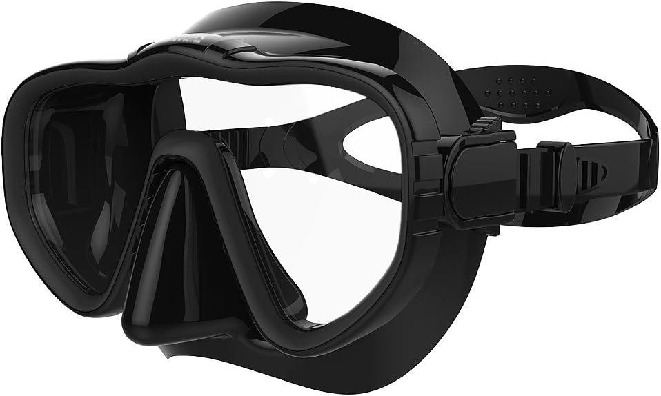Masque Tuba/Combinaison de plongée adulte avec jupe et sangle en silicone | no-leak Design Offre une qualité et personnalisables Fit | Noir