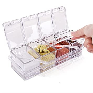 Küchen Aufbewahrungsbehälter anpi 4 teiliges acryl gewürzbehälter küchenorganizer aufbewahrung