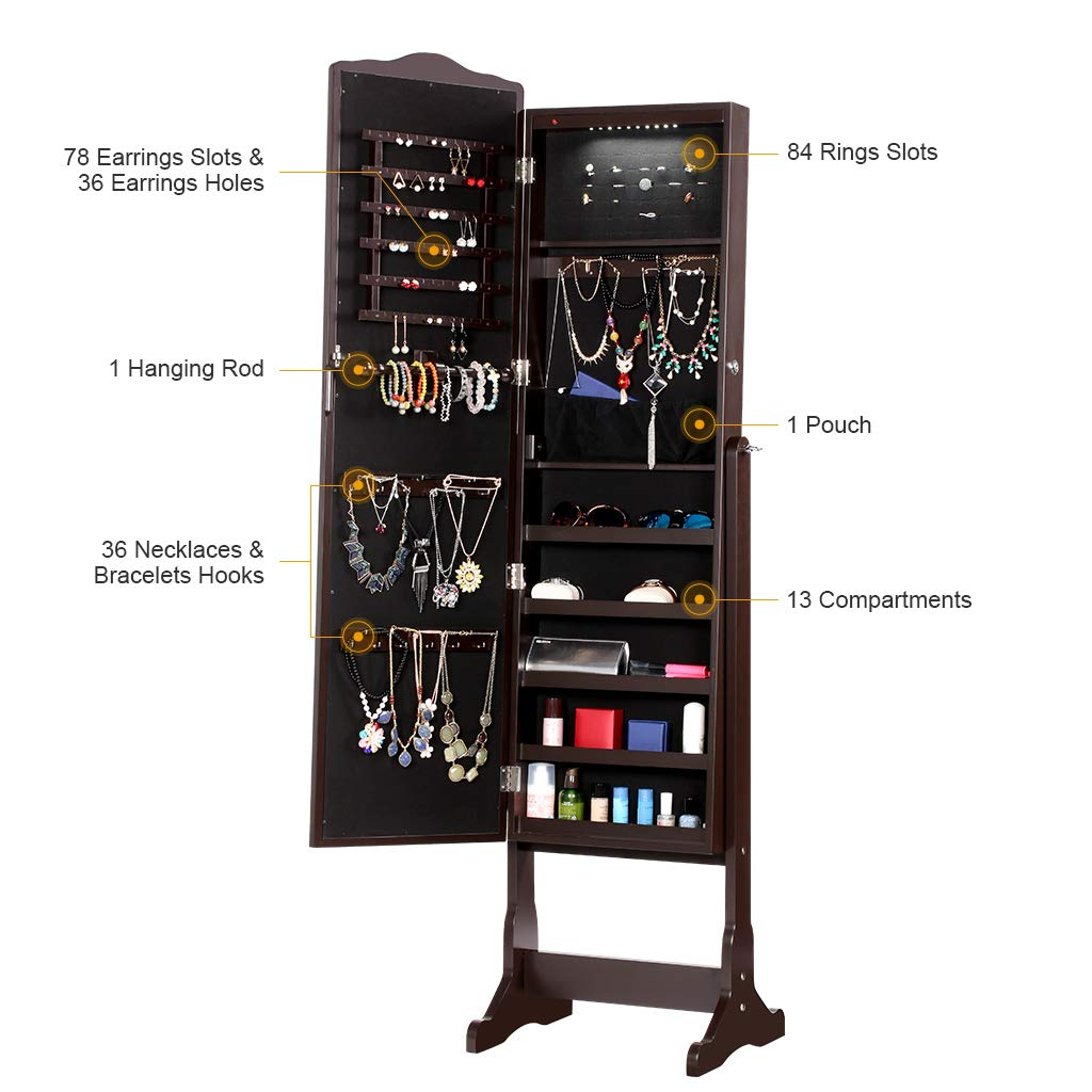 LANGRIA 10 LEDs Free Standing Jewelry Cabinet Lockable Full-Length Mirrored Jewelry Armoire with 5 Shelves, Organizer for Rings, Earrings, Bracelets, Broaches, Cosmetics, Brown by LANGRIA (Image #7)