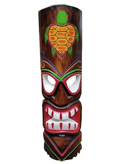 amazon com 20 handcarved wood tiki mask with turtle tropical