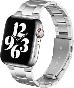 Steel Band Compatible with Apple Watch Bands 44mm 42mm, Business & Leisure Upgraded Stainless Steel Metal Solid Replacement Strap for iWatch Series 6/5/4/3/2/1 & SE Men and Women - Silver