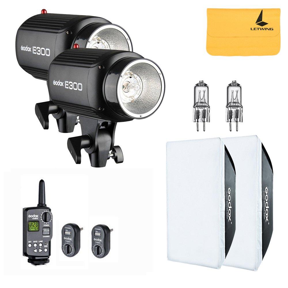 Godox 600W (2x300W) Photo Studio Strobe Flash Light Kit w/RT-16 Channel Trigger Softbox Modeling Lamp (E300 kit) by Godox