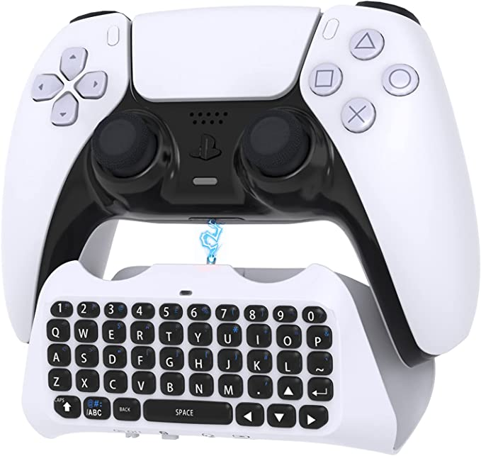 Controller Keyboard for PS5, Wireless Qwerty Keyboard Bluetooth 3.0 Mini Rechargeable Keypad Chatpad with Built-in Speakers, Live Chat 3.5mm Audio Jack for Playstation 5 Dualsense Controller | Amazon
