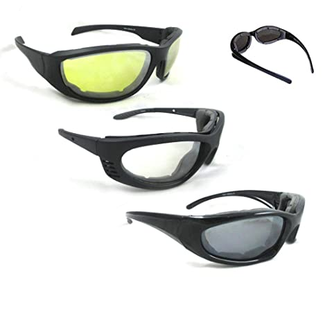 08c040a09a Amazon.com  3 Pair Combo Padded Motorcycle Sunglasses Wind Resistant Riding  Glasses New !  Sports   Outdoors
