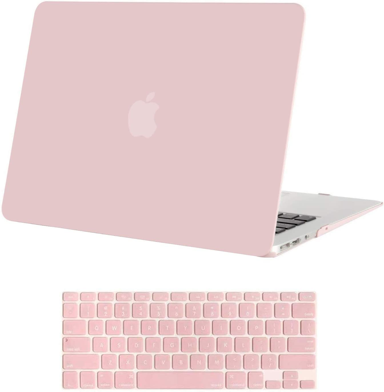 MOSISO MacBook Air 13 inch Case (Models: A1369 & A1466, Older Version 2010-2017 Release), Plastic Hard Shell Case & Keyboard Cover Skin Only Compatible with MacBook Air 13 inch, Rose Quartz