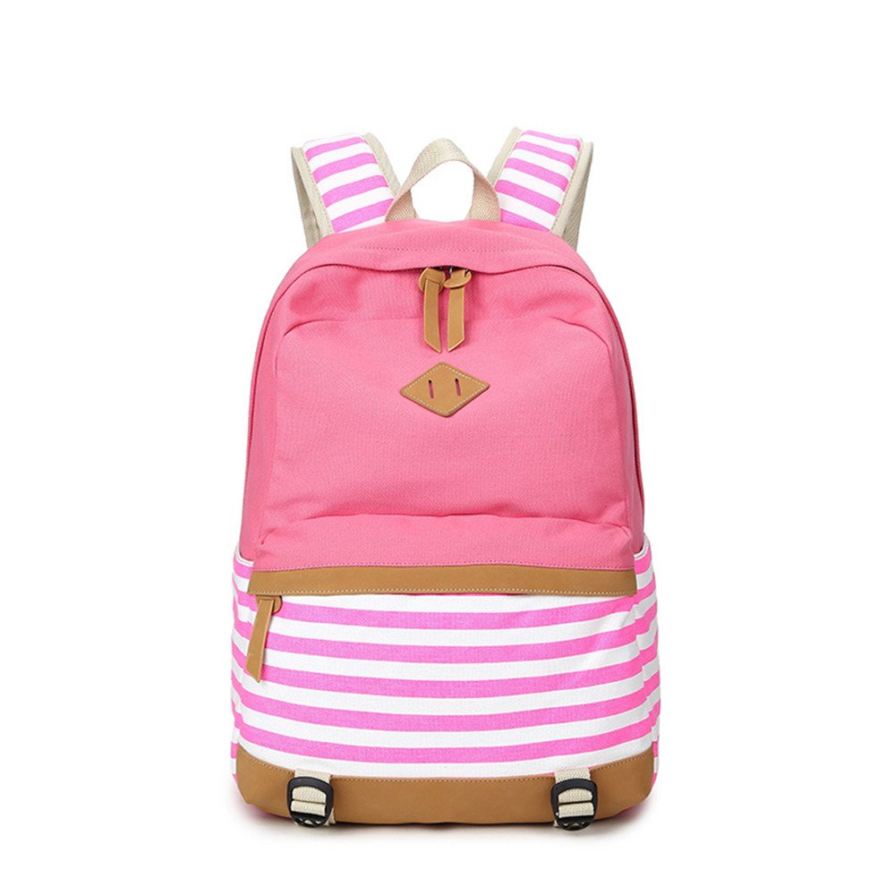 Amazon.com | Stripes Casual Canvas Laptop Bag School Backpack Lightweight Backpacks for Teen Young Girls | Backpacks