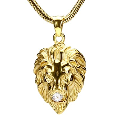 Daesar stainless steel necklaces mens lion head round zirconia gold daesar stainless steel necklaces mens lion head round zirconia gold pendant necklace 20 inch chain aloadofball Image collections