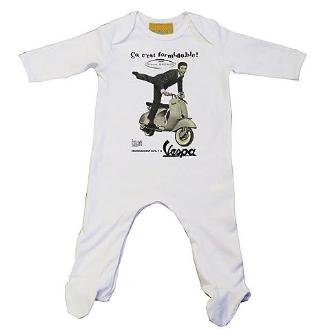 Vespa Italiano Anuncio gorro para bebé Color blanco blanco Talla:0-3 meses