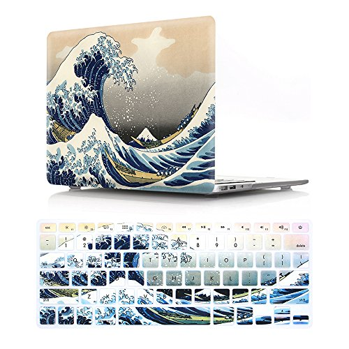 HRH 2 in 1 Sea Waves Laptop Body Shell Protective Hard Case Cover Silicone Keyboard Cover for MacBook Pro 13.3