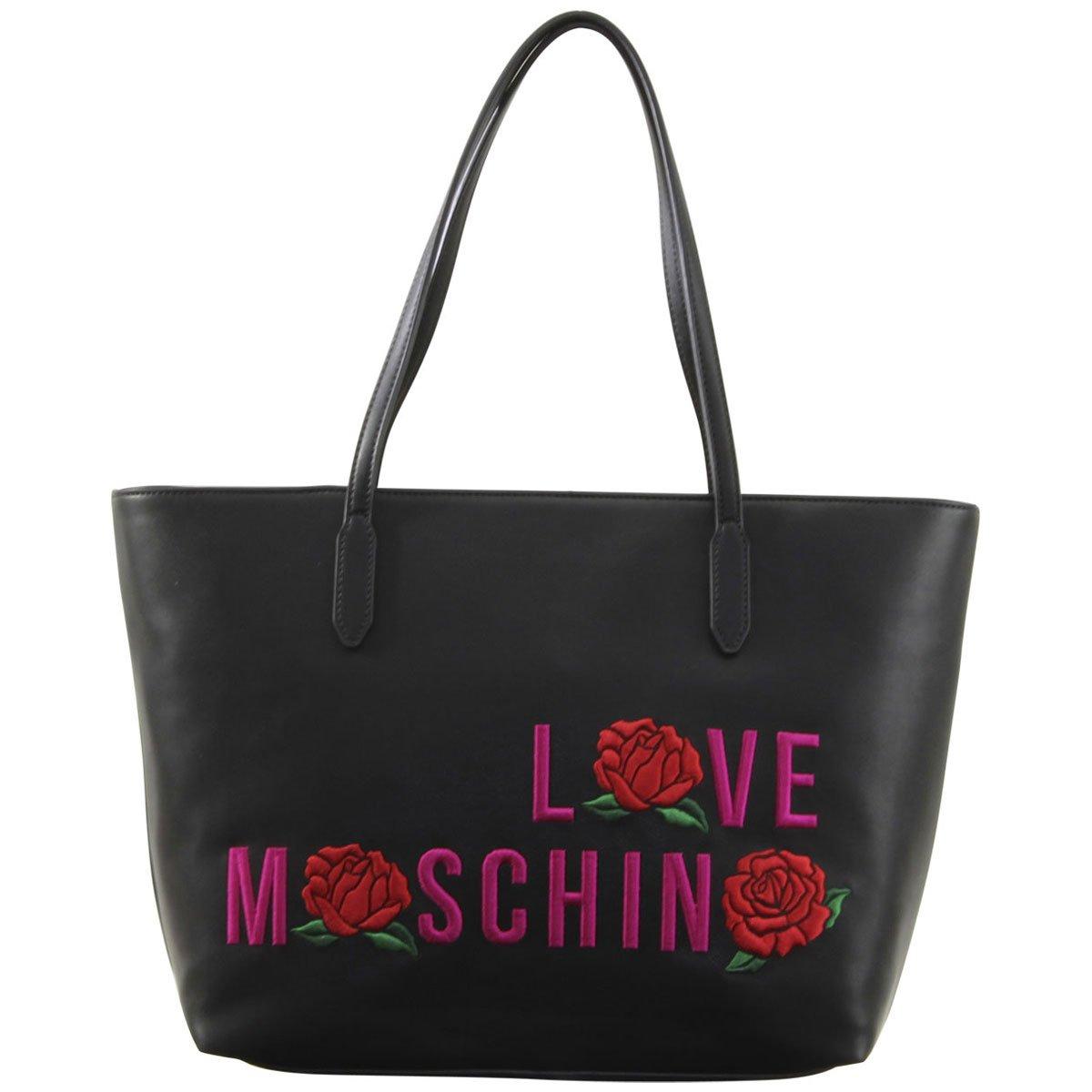 LOVE Moschino Women's Logo Rose Tote Black Handbag