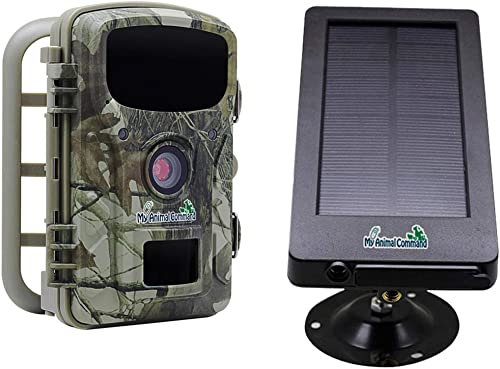 My Animal Command Solar Trail Camera 16MP Game Time Lapse Cam with Night Vision Motion Activated, IP66 Waterproof 1080p Spy Outdoor Deer Wildlife Hunting. 16MP Camera and Solar Power Pack Bundle