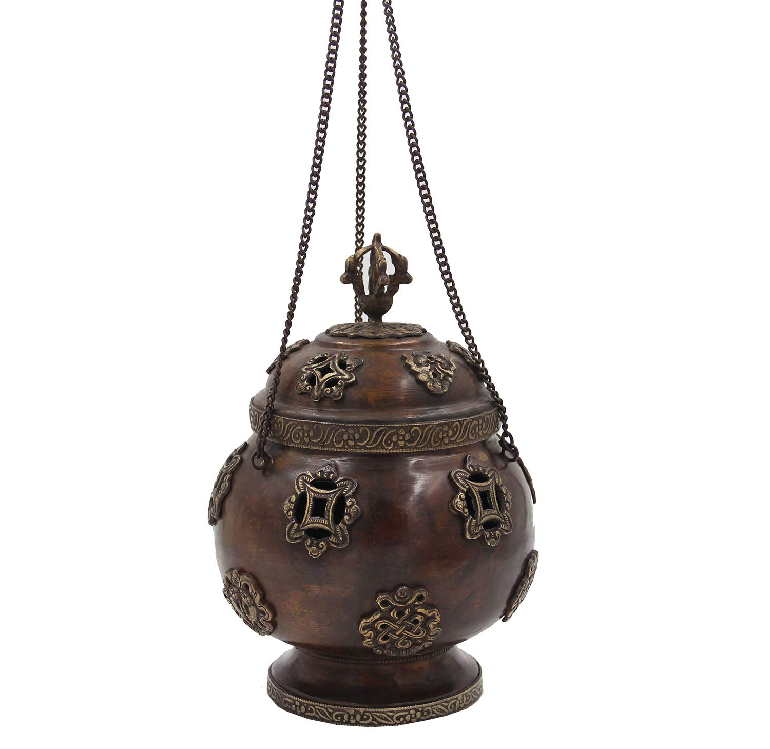DharmaObjects Tibetan Traditional Hanging Incense Burner Copper (6 x 4.5 x 4.5 Inches, Hanging 8) by DharmaObjects (Image #3)