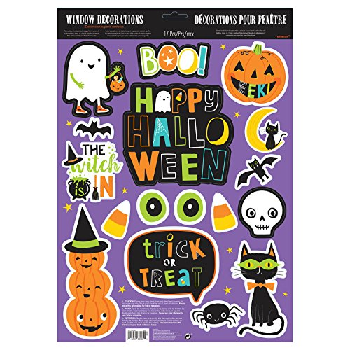 Amscan 210562 Glitter Halloween Friends Cling Decals, Multicolor, 17 Window Decorations -