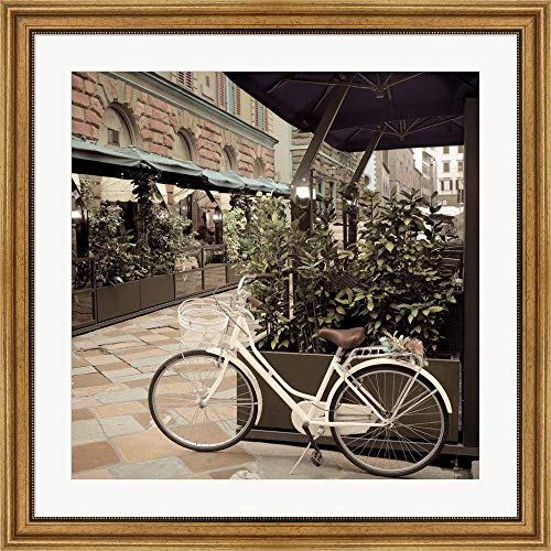 Firenze Gold Wall - Firenze Bicycle by Alan Blaustein Framed Art Print Wall Picture, Wide Gold Frame, 32 x 32 inches