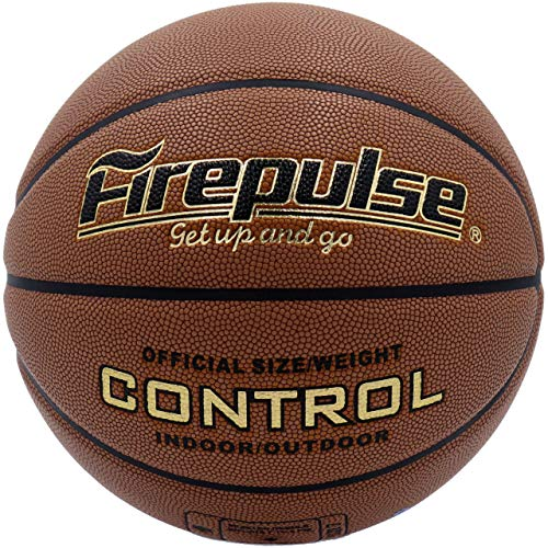 FIREPULSE Control Basketball/Official Size 7(29.5')/Indoor&Outdoor Composite Leather Game Basketballs(Brown)