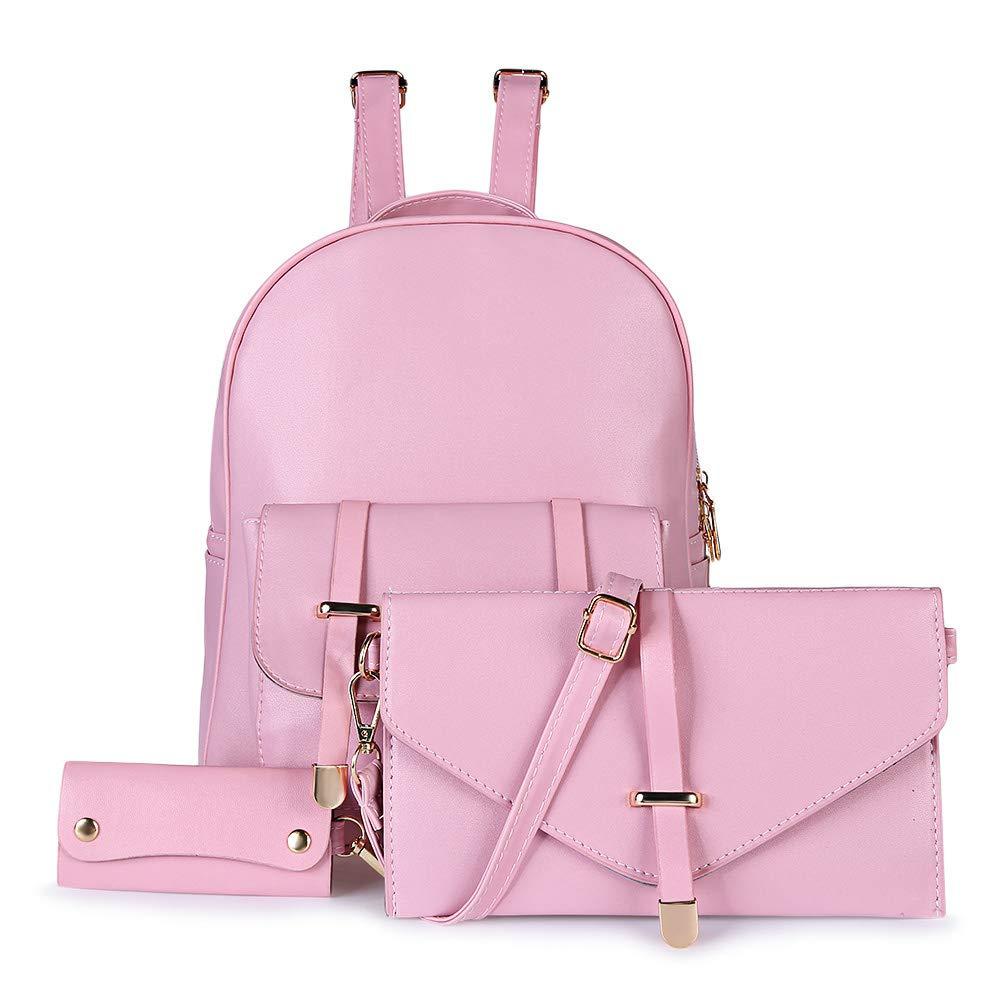 XXIAZHI,Mode 3pcs en cuir PU Preppy Style School Bag Key Wallet Sac à bandoulière unique Sac à dos fille