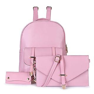 ZhangHongJ,Moda 3pcs PU pelle preppy stile sacchetto di scuola chiave portafoglio singola borsa a tracolla ragazza zaino(color:PAPAIA)