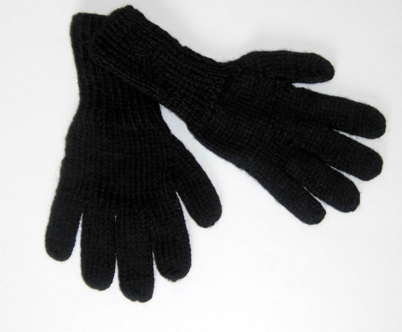 Alpakaandmore Women Hand-knitted Gloves Alpaca Wool (Medium, Black)