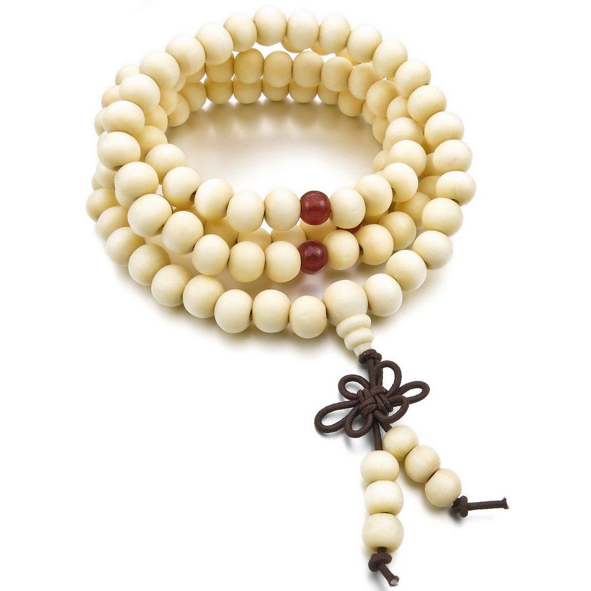 INBLUE Men,Womens 8mm Wood Bracelet Link Wrist Necklace Chain Tibetan Buddhist Sandalwood Bead Prayer Buddha Mala Chinese knot Elastic INBLUE Jewelry mnb0912-2