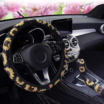 ALVAZA Fashion Non-Slip Elastic Steering Wheel Cover Handbrake Cover Gear Shift Cover Car Decoration 3 Pcs Four Seasons Universal Cute Car Accessories for Women and Girls (Sunflower): Automotive