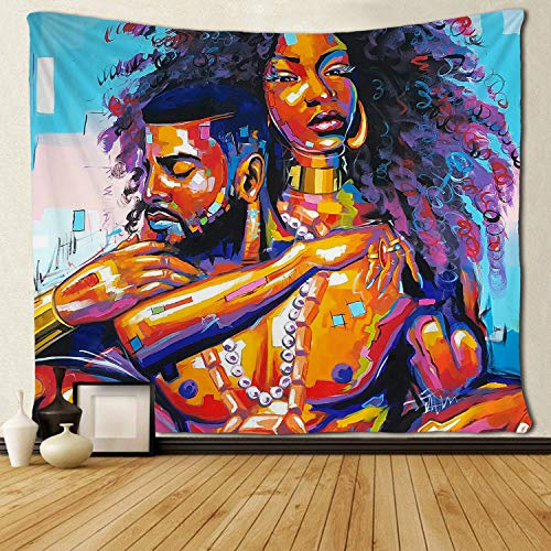 """SARA NELL Tapestry African American Lovers Couple Oil Painting Tapestries Wall Art Hippie Bedroom Living Room Dorm Wall Hanging Throw Tablecloth Bedspread 50""""¡Á60"""