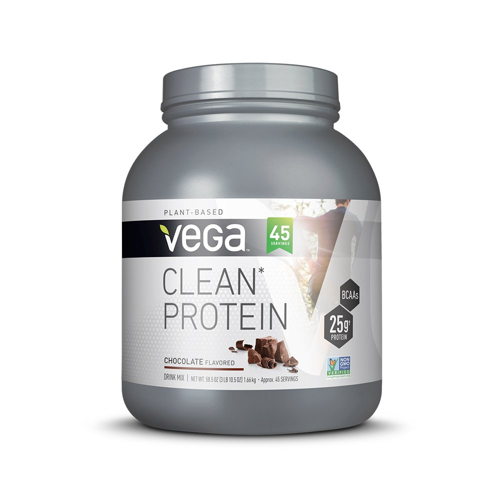 Vega Clean Protein Powder Chocolate 45 Servings, 3 lb 10.5 OZ – BCAAs, Non Dairy, Gluten Free, Non GMO