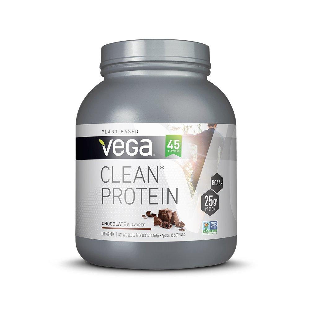 Vega Clean Protein Powder Chocolate (45 Servings, 3 lb 10.5 OZ) - BCAAs, Non Dairy, Gluten Free, Non GMO
