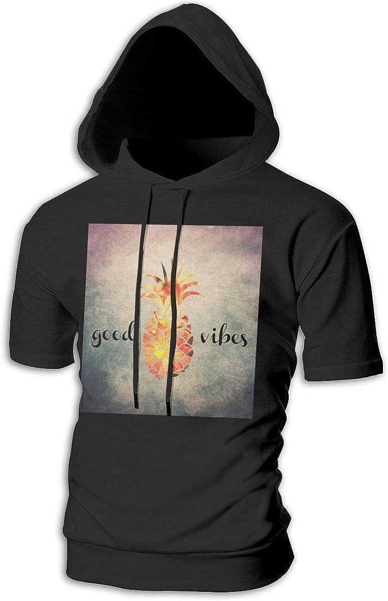 Aloha Pineapple Hoodies Mens Short Sleeve Slim Fit Pullover Hip Hop Lightweight