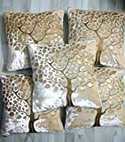 Fashionova® Tree Print Velvet Cushion Covers with Border Piping 16 x 16 inch or 40 * 40 cm Set of 5 (Cream).