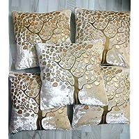Fashionova® Tree Print Velvet Cushion Covers with Border Piping 16 x 16 inch or 40 * 40 cm Set of 5 (Cream).