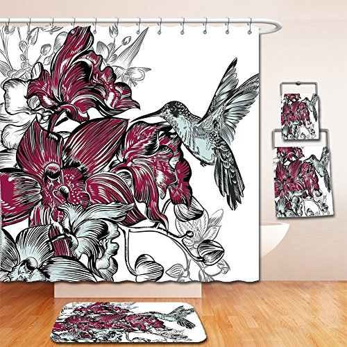 Nalahome Bath Suit: Showercurtain Bathrug Bathtowel Handtowel Hummingbirds Decorations Orchid Flowers Bouquet and Artistic Design Artwork Magenta Agro Green - 8330 Rubber
