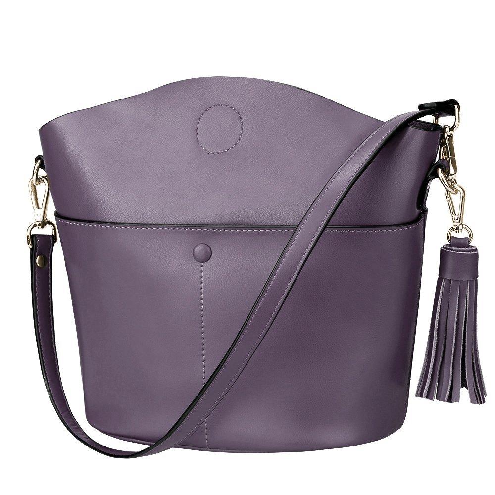 S-ZONE Women's Cowhide Genuine Leather Small Purse Handbag Crossbody Shoulder Bag Upgraded Version (Light Purple)