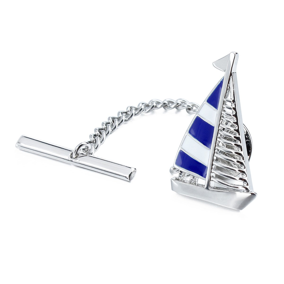 HAWSON Blue Tie Clip Tie Tack with Clucth Back Wedding Party Accessories - Sailing Boat Shape