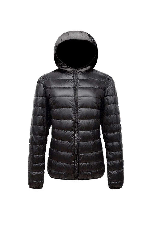 TSC Wearable Women's Ultra Light Down Jacket, Fashion Light Weight Yet Warm Down Jacket, Water Resistant, Compact For Travel, All Season Wear (XL, Black)