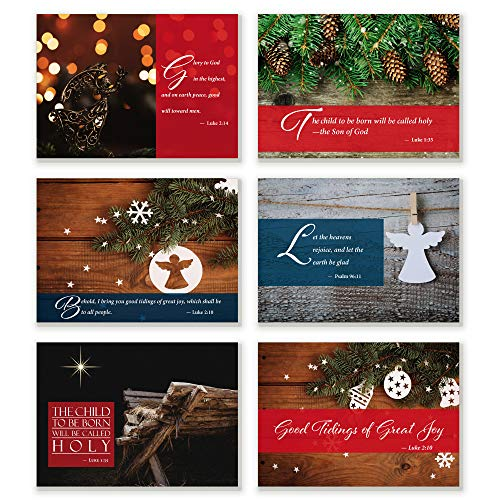 24 Pack Religious Christmas Cards | 6 Unique Designs with Scripture | Special Christmas Message Inside (Card Inspiration Design Christmas Graphic)
