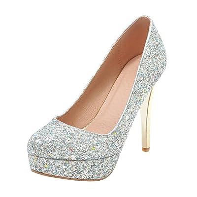 Agodor Women's Platform High Heels Glitter Wedding Pumps Closed Toe Elegant Bride Summer Shoes