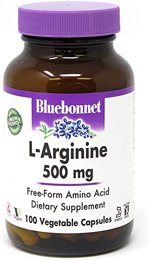 Bluebonnet L-Arginine 500 Mg Vitamin Capsules, 100Count