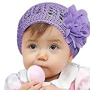 Elevin(TM) Toddler Baby Hat Girl Newborn Infant Flower Knitting Wool Winter Warm Cap Beanie (Purple)