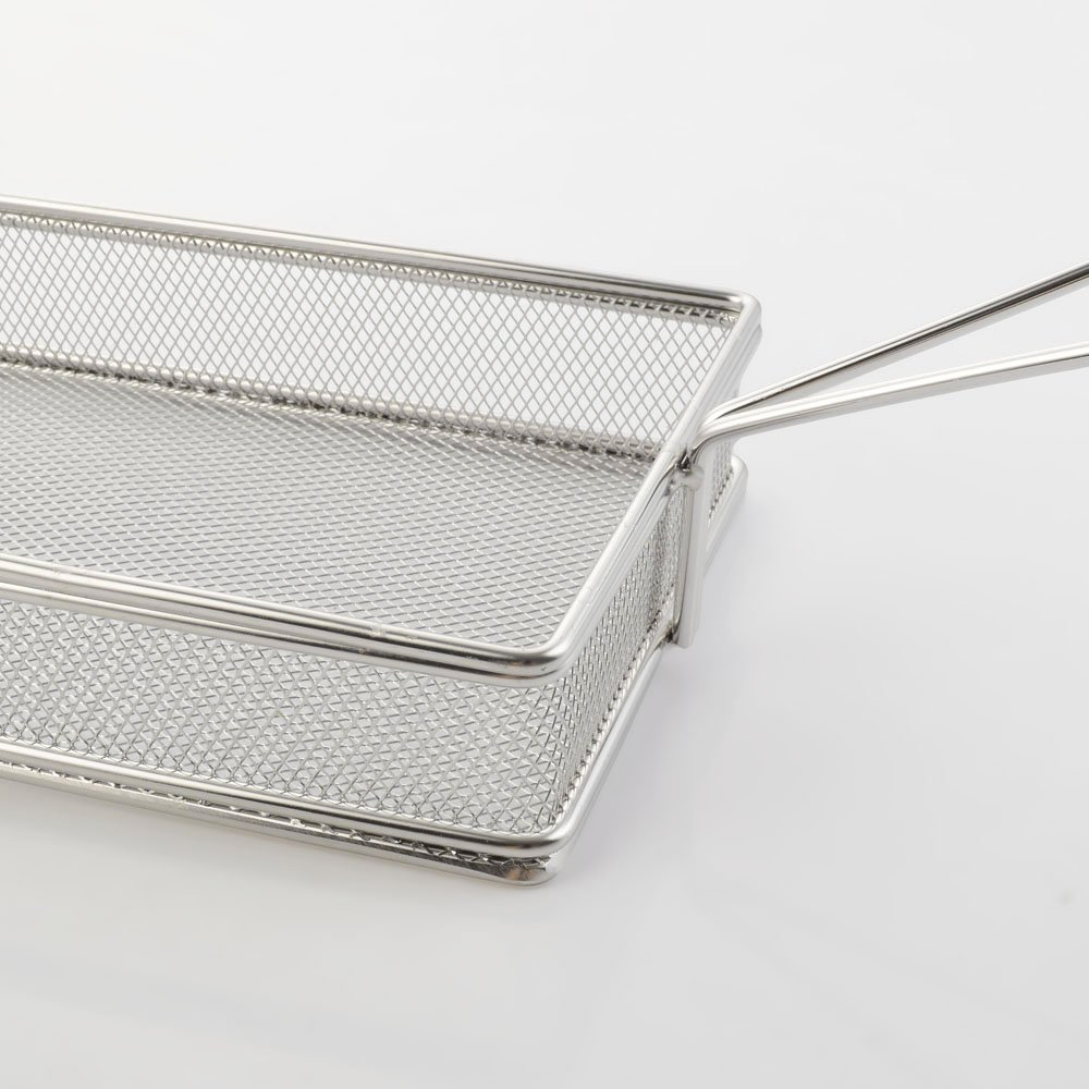 iGodee French Bread Basket Food-grade Stainless Steel Rectangle French Fries Fryer Basket Restaurant Family Kitchen Food Presentation Tableware IF0042