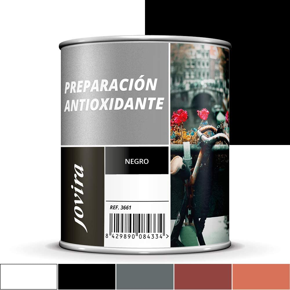 IMPRIMACION ANTIOXIDANTE METAL, Pintura tratamiento superficies de metal anti oxido. Imprimacion uso general, Proteccion total. Anti oxidante. (750ML, NEGRO)