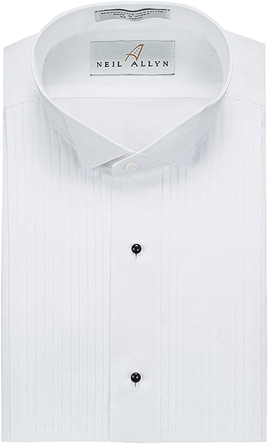Neil Allyn Mens 100/% Cotton Tuxedo Shirt 1//4 Pleat with French Cuffs Wing Collar Slim Fit