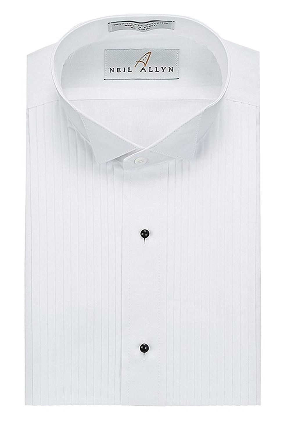 Neil Allyn Slim Fit Tuxedo Shirt - 100% Cotton Wing Collar with French Cuffs