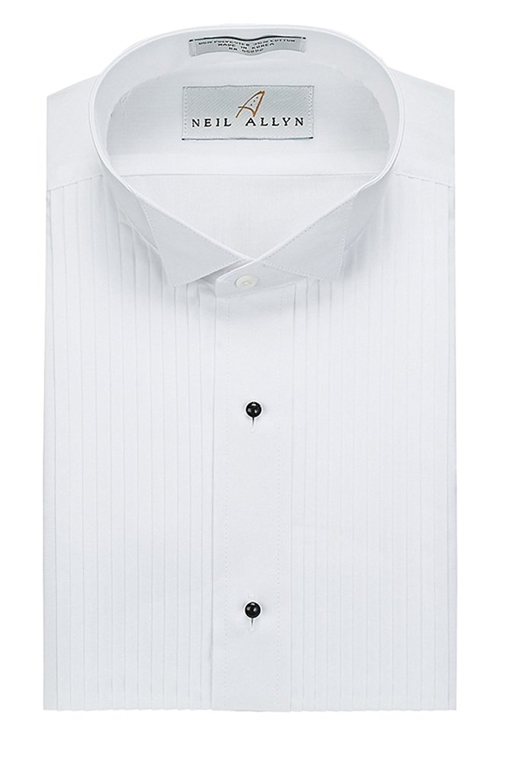 Neil Allyn Slim Fit Tuxedo Shirt - 100% Cotton Wing Collar with French Cuffs,White,Large (16.5) Neck 34/35 Sleeve